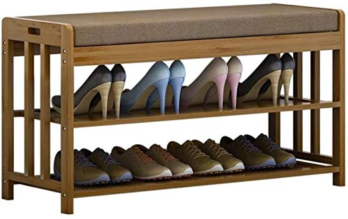 FCYQBF Shoe rack,Bamboo With Storage, 2 Tier Shoe Rack With Handle, Entryway Organizer Modern Small Bench With Sponge Cushion (Size : 31.5' x 11.8' x 19.7')