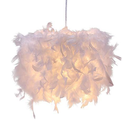 Kasachoy Pantalla para lámpara de techo con plumas, creativa, esponjosa, para lámpara de mesa y lámpara de pie, dormitorio, sala de estar, boda o decoración de fiesta, sin bombilla