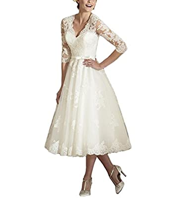 Abaowedding Women's V Neck Long Sleeves Tea Length Short Wedding Dress US 2 Ivory