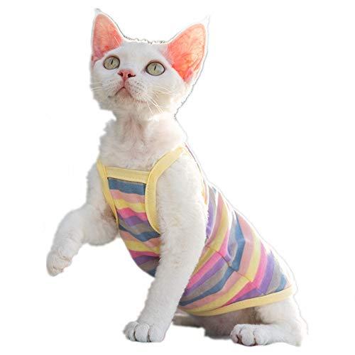 HAICHEN TEC Haarlose Katzen gestreiftes Camisole atmungsaktiv Sommer ärmellose Weste Shirts für Sphynx, Cornish Rex, Devon Peterbald, Katzenkleidung haarlose Katzenbekleidung weich hautfreundlich