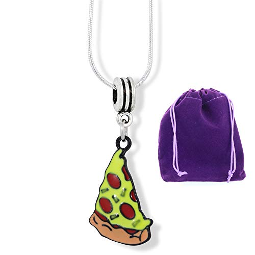 Pizza Piece Coloured Enamel Charm Snake Chain Necklace