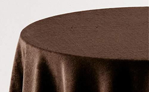 HIPERMANTA Falda Mesa Camilla Redonda Lisa Tacto Suave 100% Poliéster. Tamaño diámetro 110 cm - 253 cm, Chocolate.