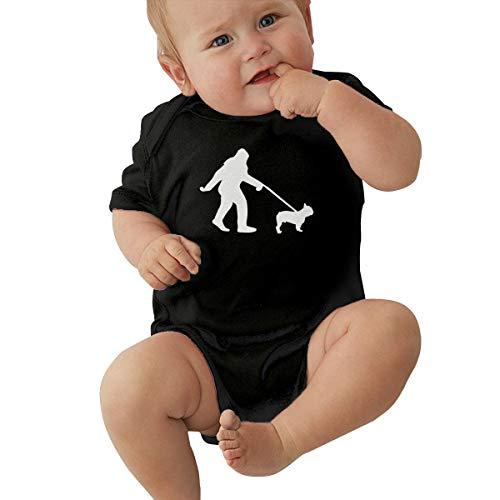 TAOHJS97 Newborn Bigfoot Walking French Bulldog-1 Short Sleeve Climbing Clothes Pajamas Sleepwear, Suit 6-24 Months Black