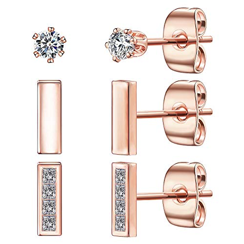 Tiny Stud Earrings for Women, 14K Rose Gold Plated 925 Sterling Silver Bar Earring CZ Simulated Diamond Ear Stud Set Brilliant Cubic Zirconia Inlaid(Rose Gold/3 Pairs)
