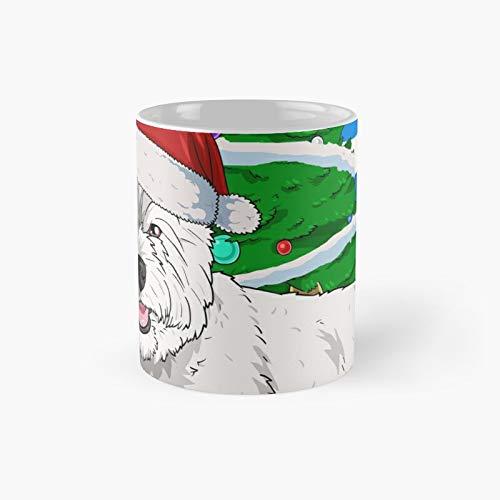 Taza clásica con diseño de perro Terrier blanco de West Highland con diseño de Papá Noel y árbol de Navidad, ideal como regalo para café, 325 ml
