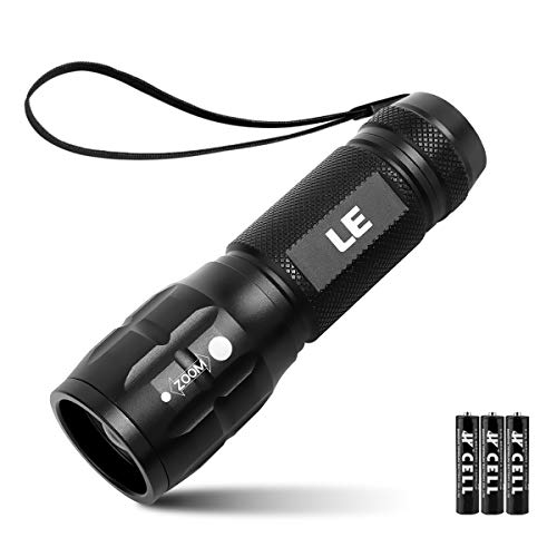 LE LED Torch Adjustable Focus Tactical Flashlight Powerful Handheld Torch Pocket Size 3 Lighting Modes Suit for Camping Cycling Running Dog Walking 3 AAA Batteries Included