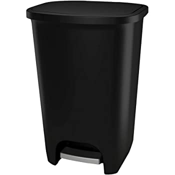 GLAD 74L Extra Capacity Plastic Step Can with CloroxTM Odor Protection | Fits All 20 Gallon Trash Bags, 74 Liter, Matte Black