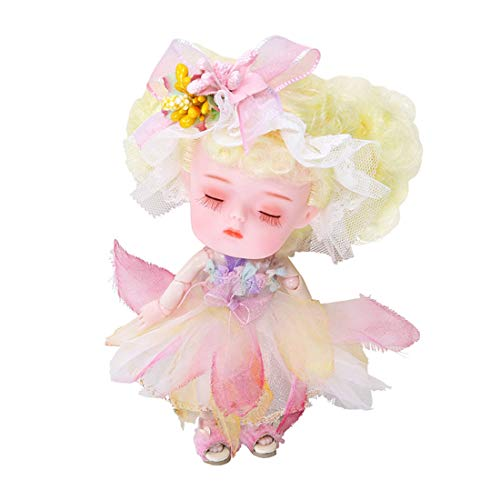 XSHION 1/12 BJD Doll, 5.51 Inch Ball Jointed Doll 26 Joints Movable Mini Doll DIY Toys with Clothes,Shoes, Wig Hair Makeup, Collection Toys Best Gift for Girls Kids - Water Lily