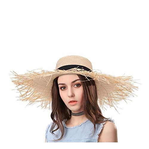 Zifeng Mujer Stuble Sun Hat Weave Broad Brim Hat Hat Hat Travel Hat Beach sombrero para el sol (Color : Natural, Size : 56-58cm)