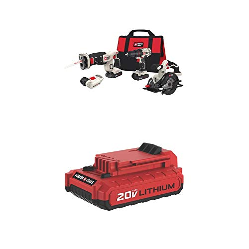 PORTER-CABLE PCCCK616L4 20V MAX 4-Tool Combo Kit with PCC682L 20V MAX 2.0 Amp Hour Battery