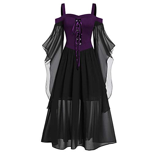 Aiserkly Damen Halloween Kleid Plus Size Cold Shoulder Gothic Kleid mit Schmetterlingsärmeln Hexenkostüm Mittelalter Renaissance Kostüm Cosplay Karneval Fasching Lila 2XL