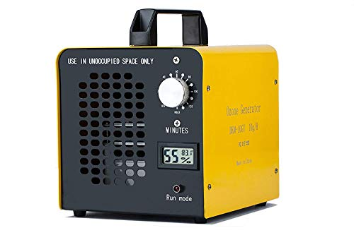 Yousiliang Generador de ozono Comercial, eliminador de olores, purificador de Aire de ozono Industrial, 10.000 MG/h, ionizador para Habitaciones, Humo, Coches y Mascotas - Amarillo