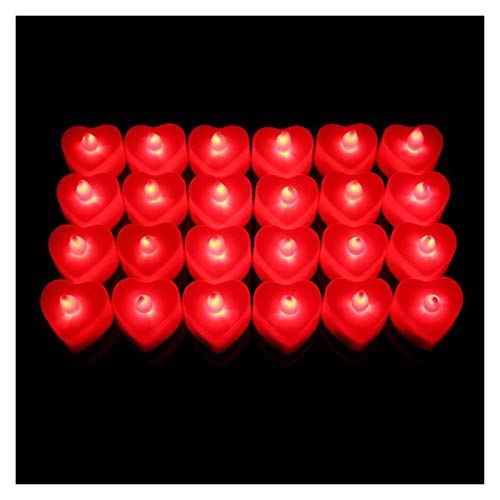 Zfwlkj Candle Light 24pcs Shape Wedding Mini Night Light Electronic Candle Simulation Prop Home (Color : Red Light)