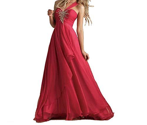 Abito Cerimonia Donna - Vestiti Lunghi Ragazza Rosa in Chiffon - Eleganti per Sposa Cerimonia e...