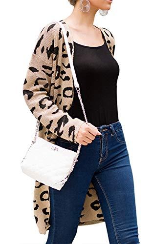 ZED- Vrouwen Lange Mouw Casual Open Voorzijde Luipaard Gebreide Trui Jas Vest Zakken