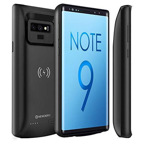 Newdery Upgraded Galaxy Note 9 Battery Case Qi Wireless Charging Compatible, 10000mAh Rechargeable Extended Charger Case (Raised Bezel - Air Cushion Technology) Compatible Samsung Note 9 (Black)