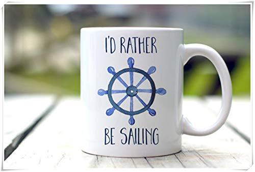Taza de vela, preferiría navegar, regalo náutico, taza de cafétaza de té de cerámica de 11 oz, alto brillo