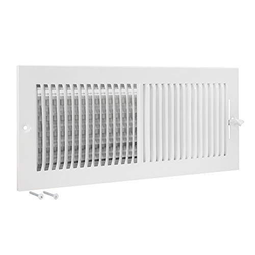 EZ-FLO 61663, White Two-Way Ventilation Steel Sidewall and Ceiling Air Register, 16 inch (W) x 6 inch (H), 16' x 6'