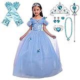 Lito Angels Disfraz de Princesa Cenicienta con Mariposa y Accesorios para Niña, Vestido de Fiesta de Cumpleaños, Talla 5-6 años, Azul