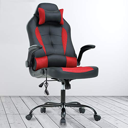 Ergonomics Gaming Chair Massage Office Chair PU Leather Computer Desk Chair High-Back Racing Style Chair with Lumbar Headrest Support Adjustable Swivel Chair for Women Adults, in Red chair gaming red