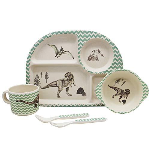 Juego de vajilla de bambú de 5 piezas para niños, vajilla infantil, vajilla de bambú respetuosa con el medio ambiente, diseños de dinosaurios sin BPA
