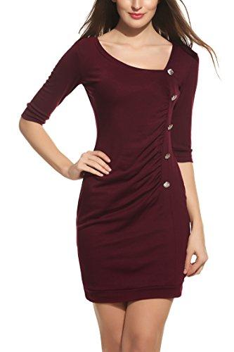 Zeagoo Damen Jersey Kleid Wickelkleid Etuikleid Bodyconkleid Elegant Party Abend Kleid Halbarm V Ausschnitt Weinrot XXL