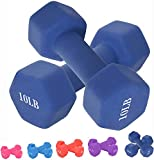 WtouXi Neoprene Dumbbell Barbell Hand Weights 3/5/8/10/12/15 Pound for Warm Up&Women, Set of 2 (15LB Blue)