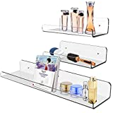 XINFENG 3 Pack Home Office Book Storage Rack Photo Collect Acrylic Wall Floating Shelf Clear Acrylic Floating Shelf/Wall Mounted Display Organizer