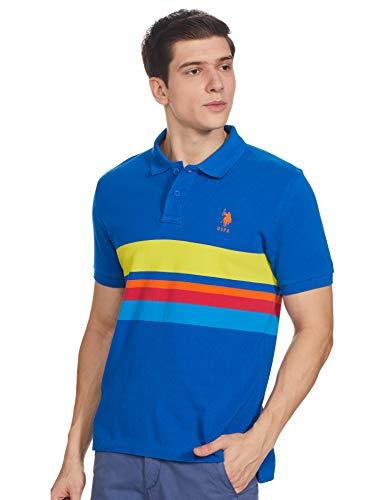 US Polo Association Men's Solid Regular fit T-Shirt (USTS6250_Blue M HS)