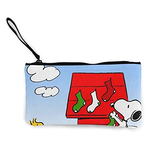Monederos de lona de Snoopy de dibujos animados se pueden utilizar como estuche de viaje cosmético para lápices de ejercicios con cremallera para estudiantes hombres y mujeres