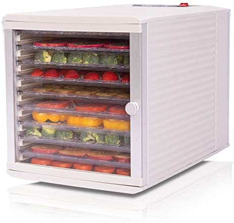 JAYETEC Professional Food Dehydrator, 6-Trays with Digital Thermostat and Timer, Fruit, Vegetables, Meat, Flowers, Herbs, Beef dryer,transparent front door & black,including 2 pcs nonstick sheets