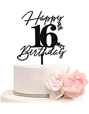 Happy 16th Birthday Cake Toppers for 16th Anniversary Birthday Party Decorations, Cheers to 16 Years Cake Topper, Sweet 16 Cake Decoration, Black Mirror