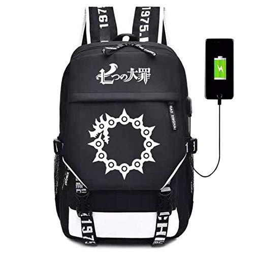 YOYOSHome Anime The Seven Deadly Sins Cosplay Bookbag Daypack Mochila Escolar con Puerto de Carga USB