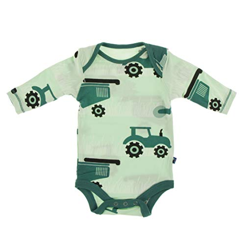 KicKee Pants Print Long Sleeve One Piece (Pistachio Tractors and Wheat - 0-3 Months)