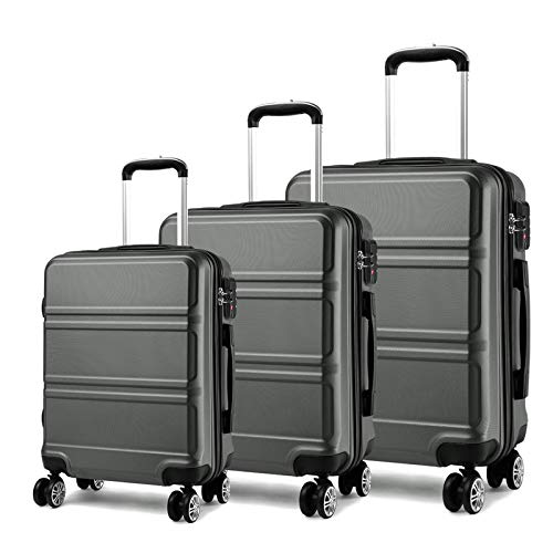 Kono Luggage Sets 3 Pieces with 8 spinner wheels 360°, Suitcase Set Hard Shell TSA Lock and Dual YKK Zipper for Traveling Grey(20'' 24'' 28'')