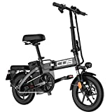 BtrPower Folding Electric Bike, 14'' City Ebike 48V 350W Motor with 48V 10AH Lithium Ion Battery, LED Light,Basket,Remote Control and Cell Phone Holder for Adult and Teenager (Black)