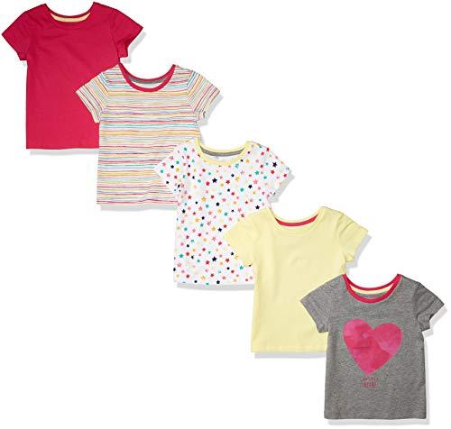 Amazon Essentials Short-Sleeve T-Shirts Fashion, Paquete de 5 Rayas arcoíris, 2 años, Pack de 5