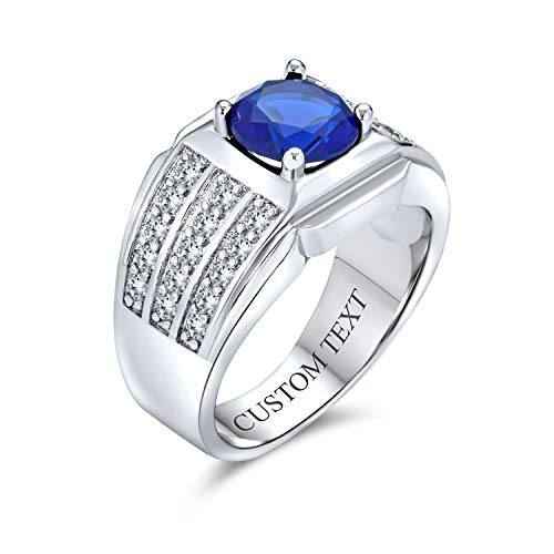 AAA Cubic Zirconia Simulated Blue Sapphire Pinky Ring 3 Row Pave 3 CT CZ Solitaire Mens Engagement Ring Wide Band Silver Plated Custom Engraved