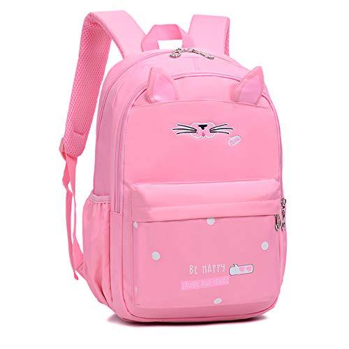 Schultaschen Rucksack Süße Katze für Mädchen Kinder 2-6 Klasse Teenager 6-16 Jahre wasserdicht Leichte Büchertasche Grundschule Schüler Reiserucksack (Pink,Medium)