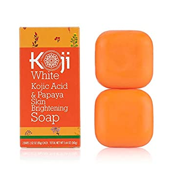 Koji White Kojic Acid & Papaya Skin Brightening Soap  2.82 oz / 2 Bars  - with Hyaluronic Acid for Smooth Face & Body Dark Spot Acne Scars Uneven Skin Tone - Hypoallergenic & Dermatologist Tested