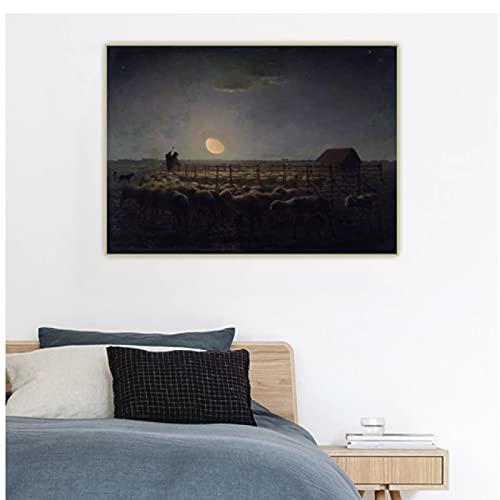 Jean Francois Millet ?Fårviken, månsken? Kanvas konst Oljemålning Konstverk Bild Väggdekor Bakgrund Heminredning -60x60cm Ingen ram