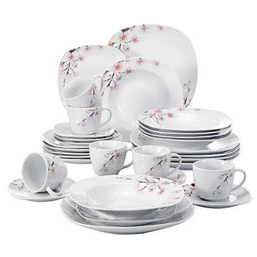 VEWEET Annie 30 Piezas Vajillas de Porcelana Juegos con 6 Taza 175 ml, 6 Platillo, 6 Platos, 6 Platos de Postre y 6 Platos Hondos para 6 Personas