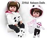 HRYEOY Réaliste Reborn bébé poupée 22 Pouces 55cm Souple Vinyle Silicone Jolie Fille Bouche magnétique Panda vêtements Pantalon Perruque poupée