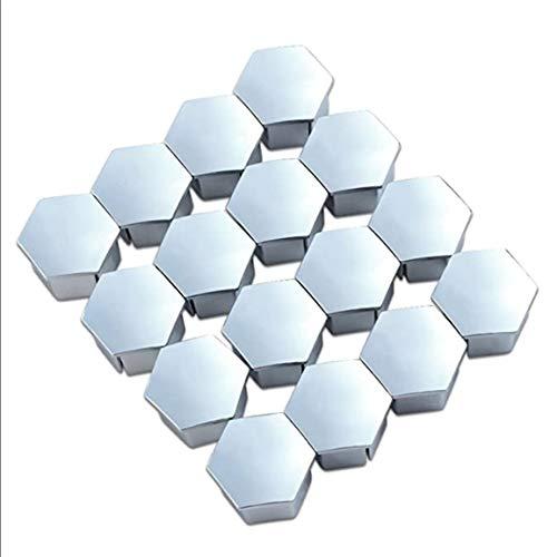 16 piezas 19 mm tapa de tornillo de neumático tapa de perno hexagonal métrico para Peugeot 307308408206207 Tuerca de rueda decoración de la cubierta del borde - Plata