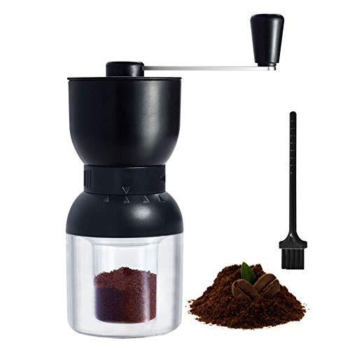 Molinillo de café manual, portátil, molinillo de café de madera con regulador de molienda para granos de café o especias, dos tarros de cristal para casa, oficina, viaje