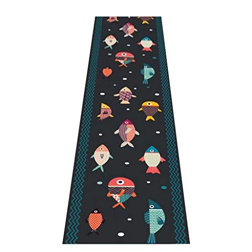 XZPENG Carpet Runner Zwarte Rol Deken Soft non-slip oppervlak vis patroon for keuken Entryway Laundry Room Kitchen (Size : 80x100cm)