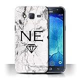 Stuff4 Personnalisé Marbre Blanc Personnalisé Coque pour Samsung Galaxy J5/J500 / Monogramme...