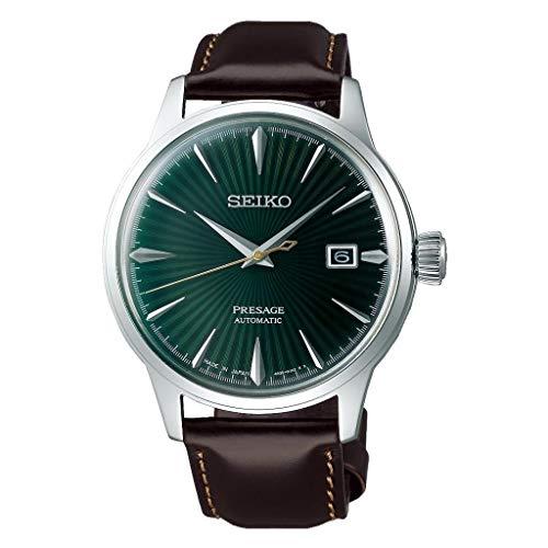 """SEIKO PRESAGE""""Mockingbird"""" mostrador verde coquetel com relógio de couro marrom SRPD37J1"""