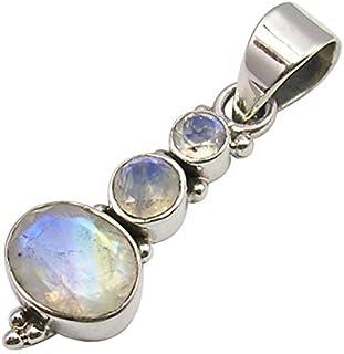 SilverStarJewel Natural Rainbow Moonstone tcw 8.0 Pendant 1.6 925 Solid Silver