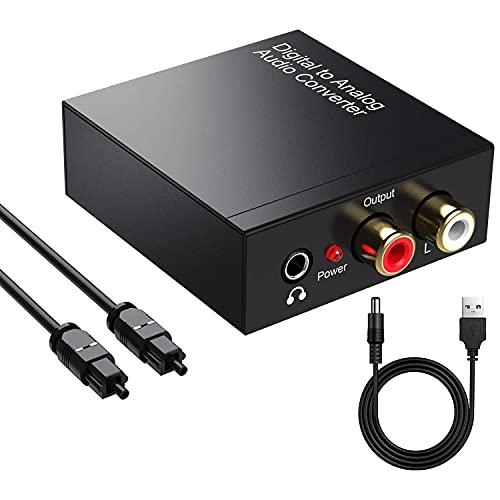 Digitale ad Analogico Convertitore Adattatore Audio Uscita 3.5mm da Coaxial Toslink Ottico SPDIF Digitale ad Analogico Stereo RCA L/R Jack 3.5mm (Cavi Ottici e Toslink Inclusi)